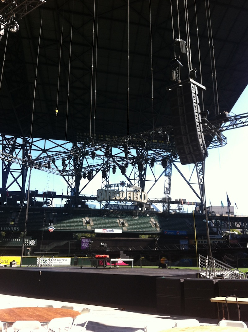 Safeco Field Stage Right Speaker Hang, 8 boxes of JBL VerTec 4888