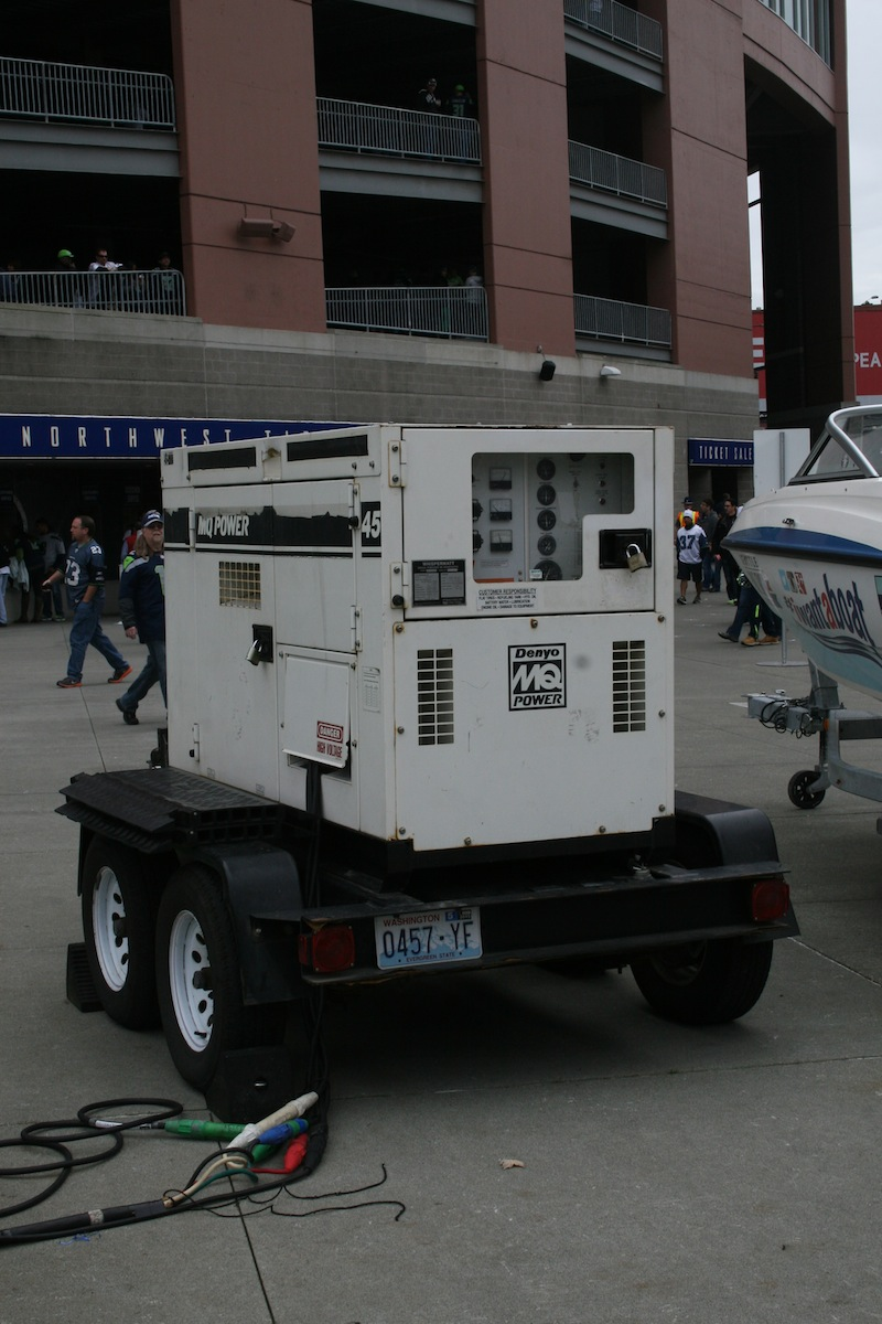 Rear View of our MQ Power WhisperWatt Diesel Generator, Seattle Seahawks Home Games 2014