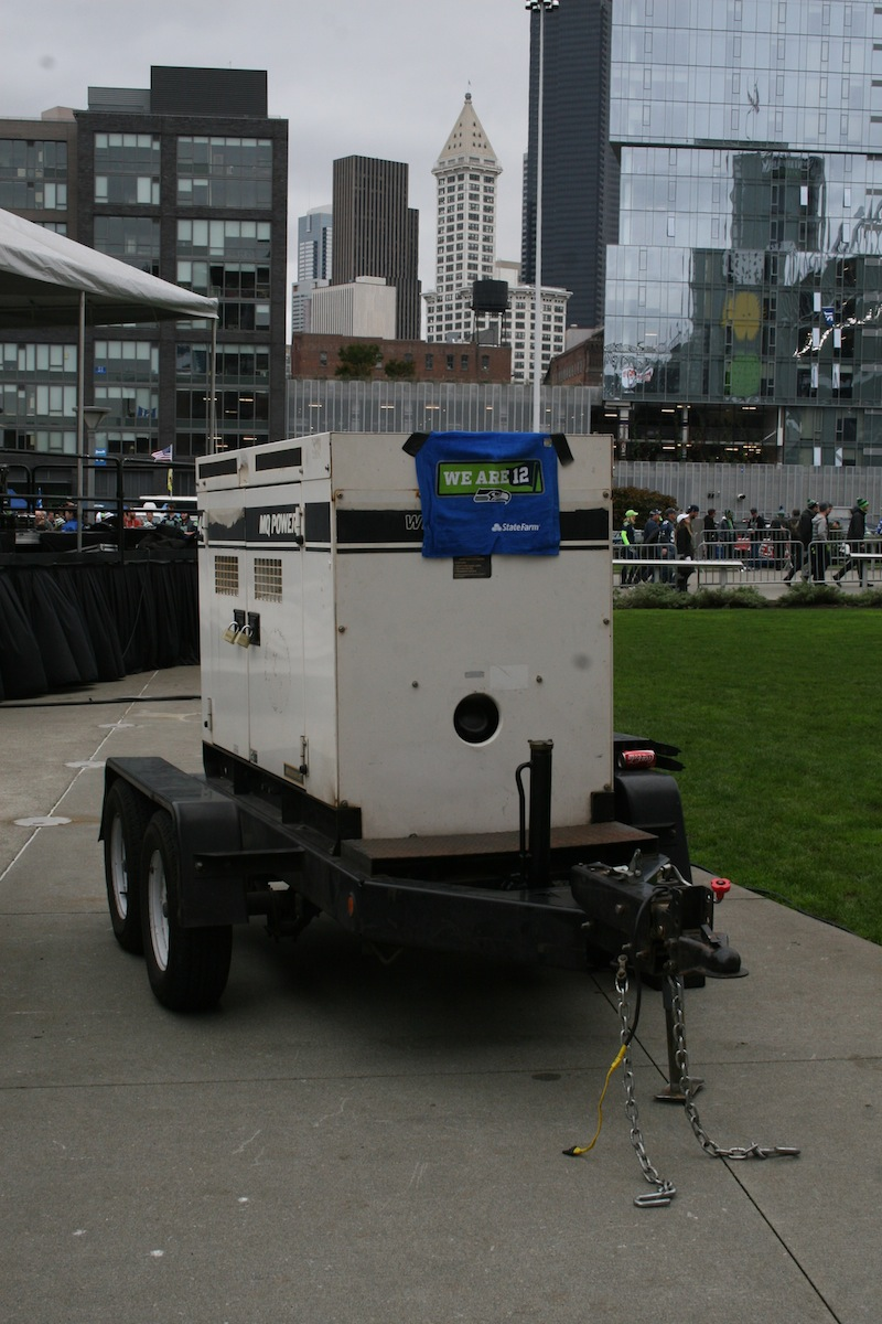 Front View of our MQ Power WhisperWatt Diesel Generator, Seattle Seahawks Home Games 2014